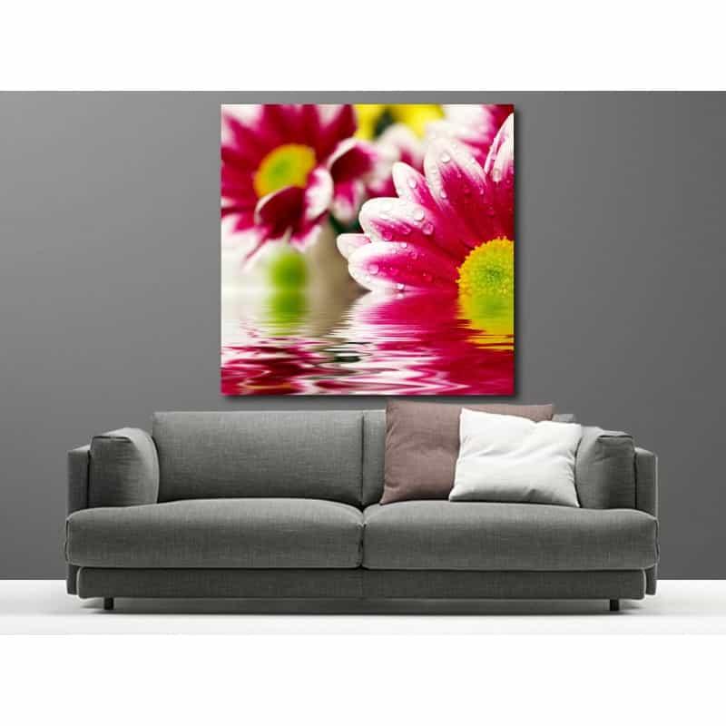 tableaux toile d co carr fleur art d co stickers. Black Bedroom Furniture Sets. Home Design Ideas