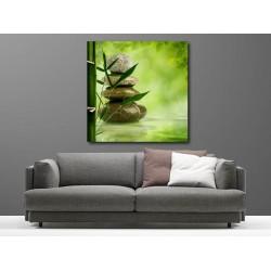 Tableaux toile déco carré galet bambou