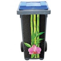Stickers poubelle déco Bambous Orchidée