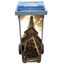 Stickers poubelle déco Tour Eiffel Sépia