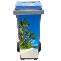 Stickers poubelle déco Palmiers plage