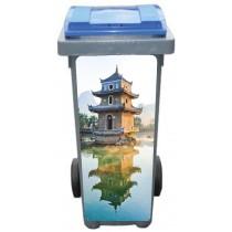 Stickers poubelle déco Temple Chinois