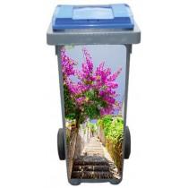Stickers poubelle déco Escalier fleurie