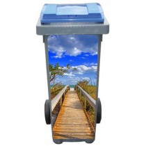 Stickers poubelle déco vers la plage