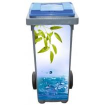 Stickers poubelle déco Feuille eau
