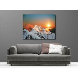 Tableaux toile déco rectangle couché de soleil montagne