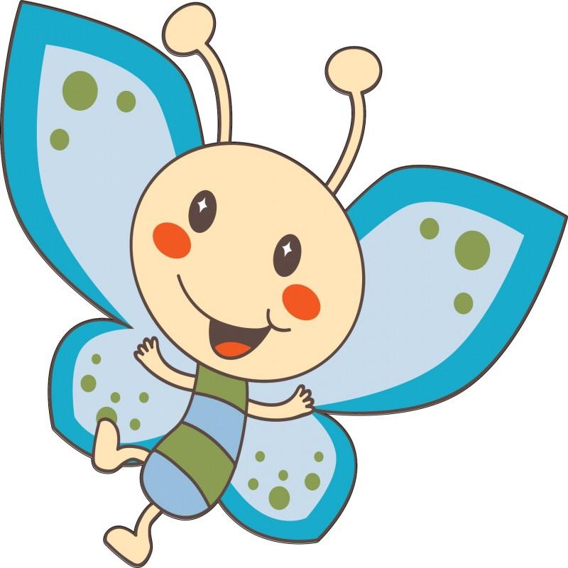 Stickers enfant papillon bleu art d co stickers - Papillon dessin couleur ...