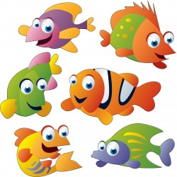 Sticker enfant: stickers Poissons 30x30cm