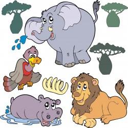 Sticker enfant Animaux de la jungle 30x30cm