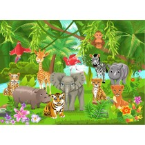 Stickers enfant géant Animaux jungle