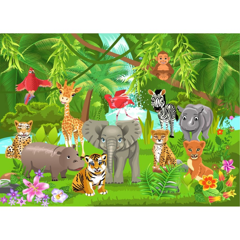 stickers enfant g ant animaux jungle art d co stickers. Black Bedroom Furniture Sets. Home Design Ideas