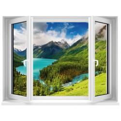 Sticker Fenêtre trompe l'oeil Lac