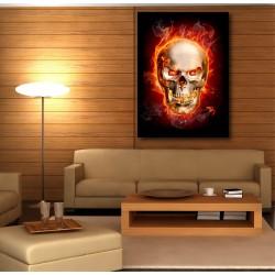 Tableaux toile déco rectangle verticale tête de mort enflammée