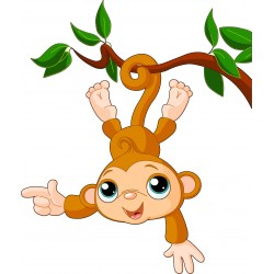 Stickers enfant Singe liane