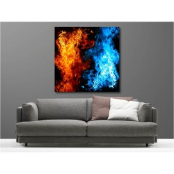 Tableaux toile déco carré eau et feu