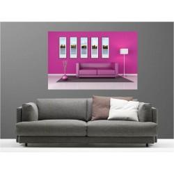 Tableaux toile déco rectangle salon rose