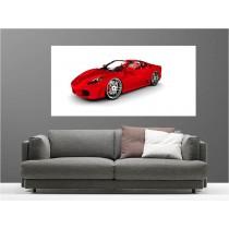 Tableaux toile déco rectangle voiture rouge