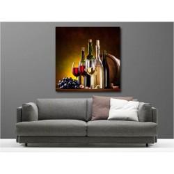 Tableaux toile déco carré bouteille de vin