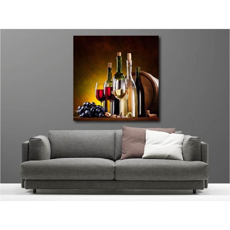 tableaux toile d co carr bouteille de vin art d co stickers. Black Bedroom Furniture Sets. Home Design Ideas