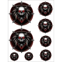 8 Stickers- Autocollants Moto Skulls