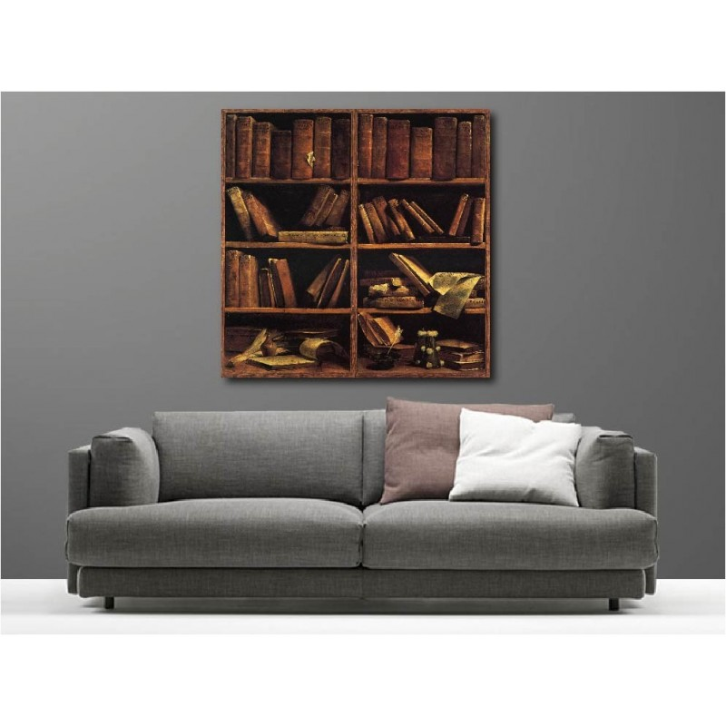 tableaux toile d co carr biblioth que art d co stickers. Black Bedroom Furniture Sets. Home Design Ideas