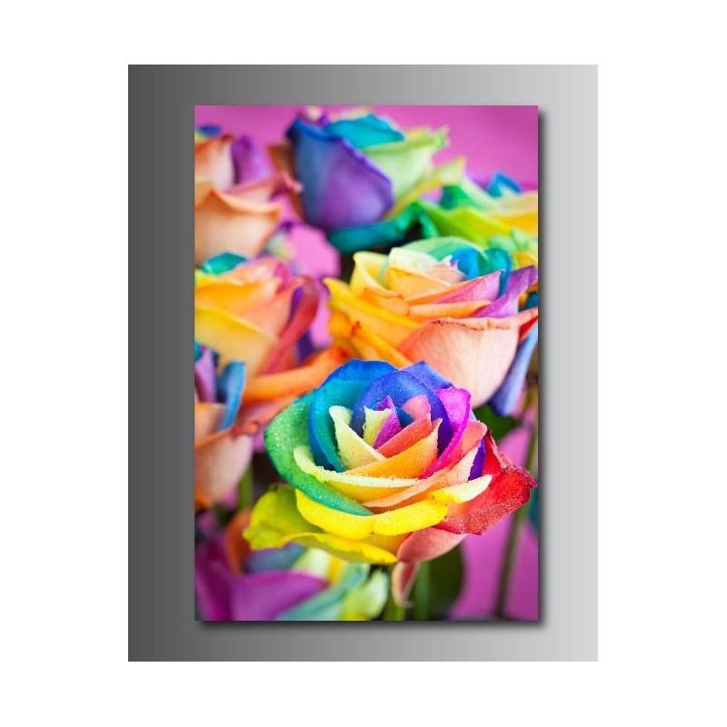 Tableau rose multicolore 1 tableaux toile deco rectangle verticale rose multicolore