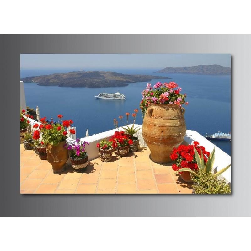 tableaux toile d co rectangle balcon vue sur la mer art d co stickers. Black Bedroom Furniture Sets. Home Design Ideas