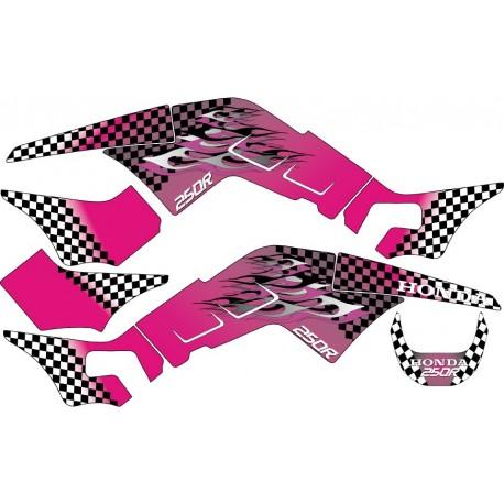 Sticker Kit déco autocollant Quad 250R Flames Pink