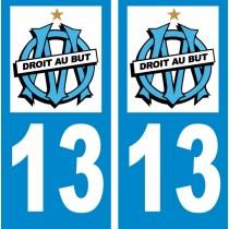 Sticker autocollant plaque d'immatriculation olympique de Marseille