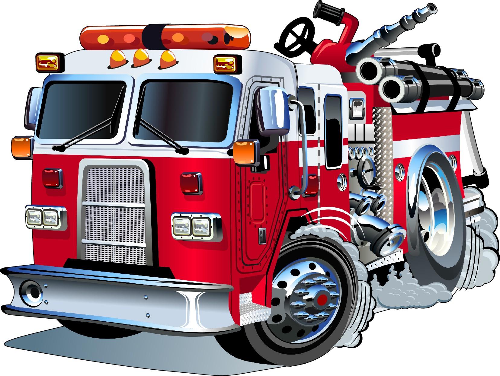 Stickers muraux enfant Camion de pompier Art Déco Stickers