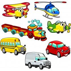 Sticker enfant véhicules 30x30cm