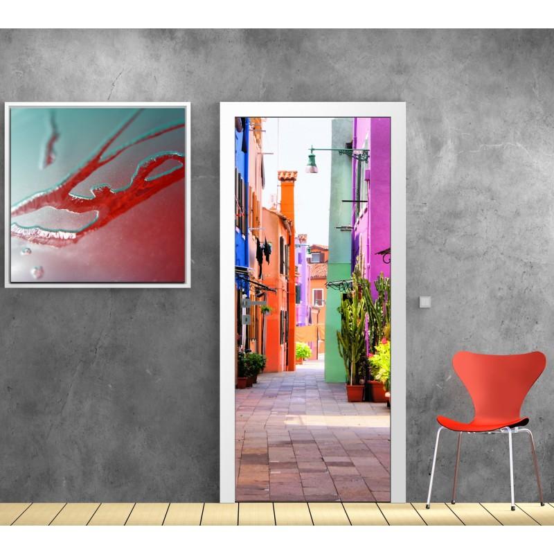 Stickers porte ruelle coloree art d co stickers for Art et decoration abonnement