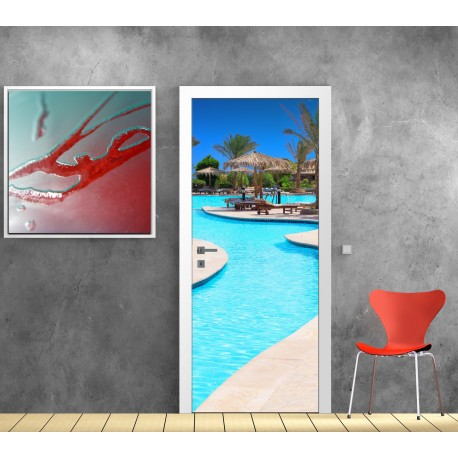 stickers porte piscine paradisiaque art d co stickers. Black Bedroom Furniture Sets. Home Design Ideas