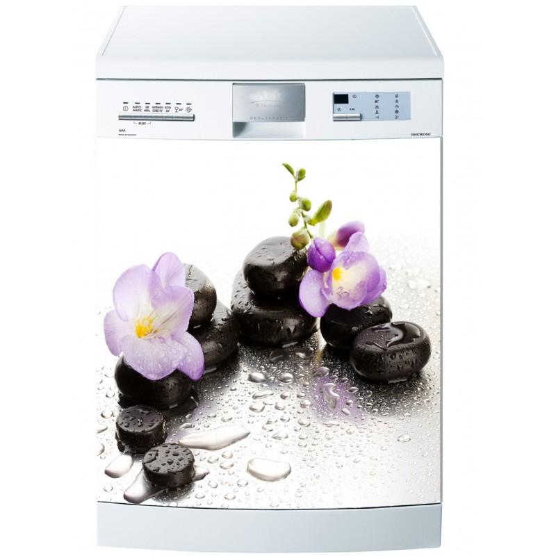 Sticker pour lave vaisselle orchidee galets art d co for Sticker pour lave vaisselle