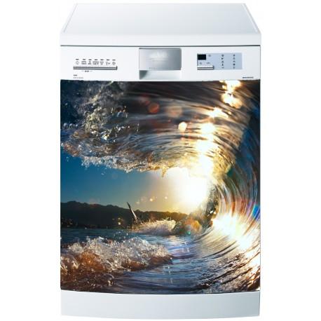 Sticker pour lave vaisselle vague ensoleill e art d co for Stickers pour lave vaisselle