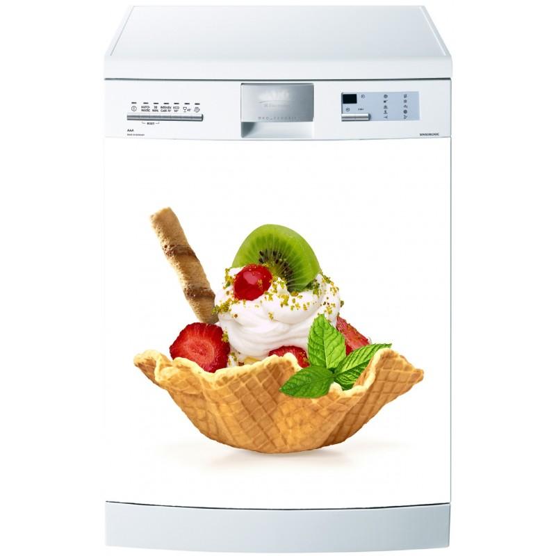 Sticker pour lave vaisselle gauffrette et fruits art for Stickers pour lave vaisselle