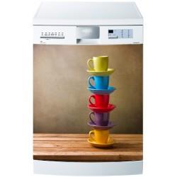 Sticker pour Lave Vaisselle Tasses colorées