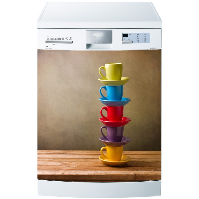 sticker pour lave vaisselle tasses color es art d co. Black Bedroom Furniture Sets. Home Design Ideas