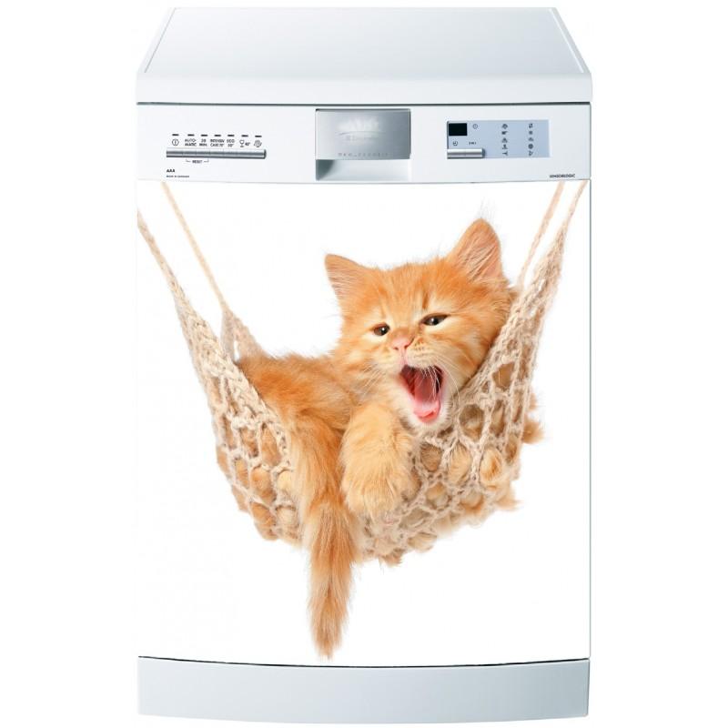 Sticker pour lave vaisselle chat sur hamac art d co stickers for Stickers pour lave vaisselle