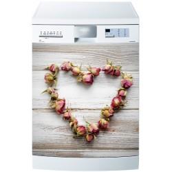 Sticker pour Lave Vaisselle Coeur fleur roses