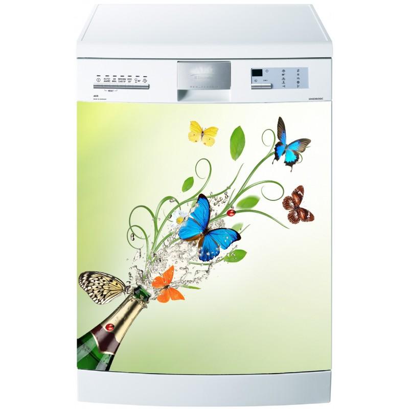 Sticker pour lave vaisselle papillons art d co stickers for Stickers pour lave vaisselle