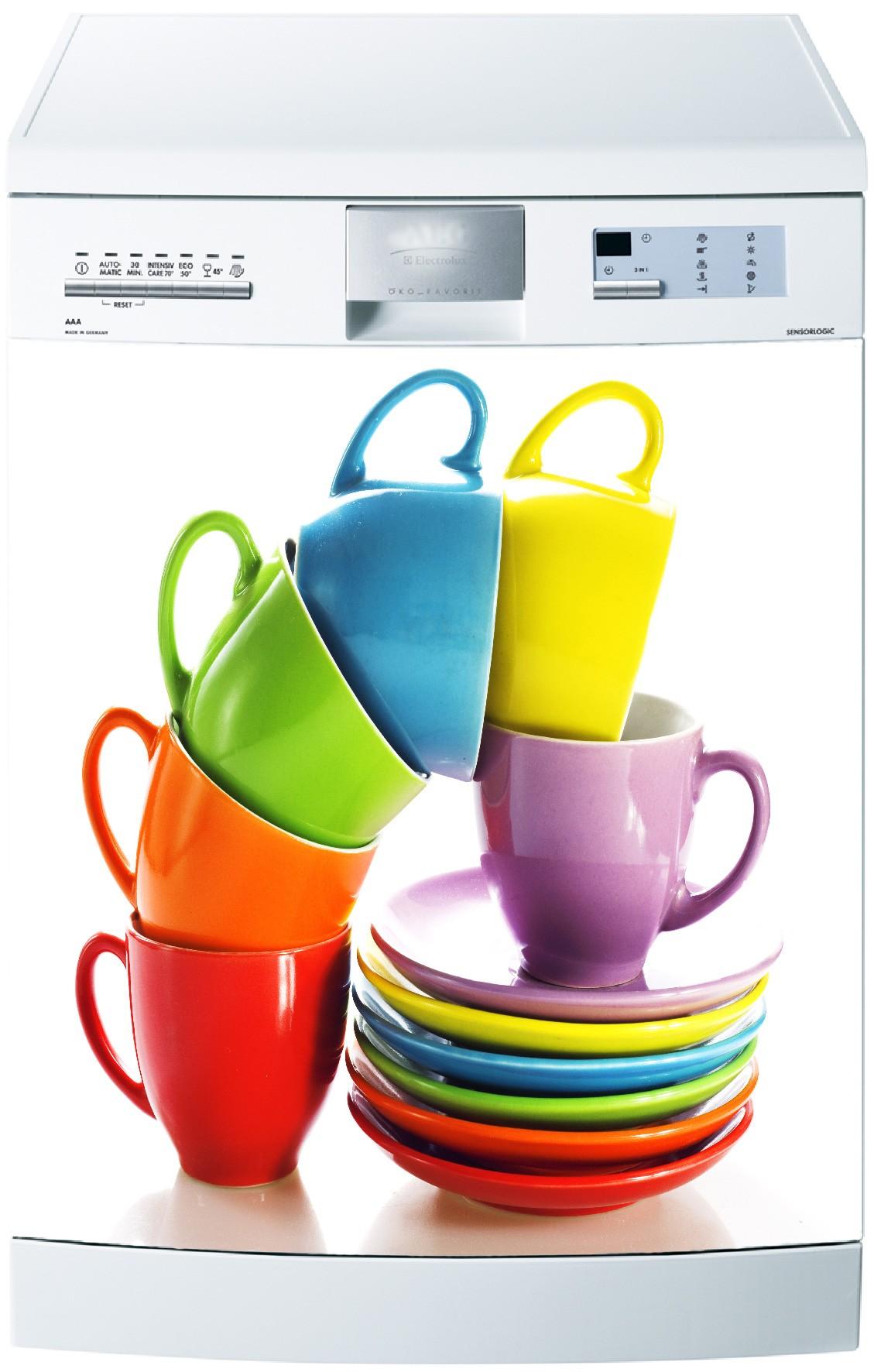 Sticker lave vaisselle déco cuisine électroménager tasses café 20
