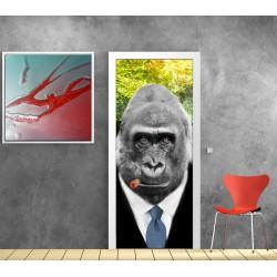 Stickers porte plane Gorille fumeur