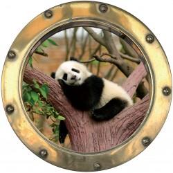 Sticker hublot trompe L'oeil Petit panda