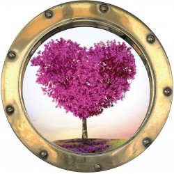 Sticker hublot trompe L'oeil Arbre en Coeur