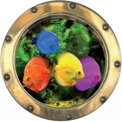 Sticker hublot trompe L'oeil Poissons colorés