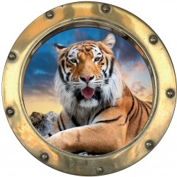 Sticker hublot trompe L'oeil Tigre