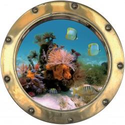 Sticker hublot trompe L'oeil fond marin