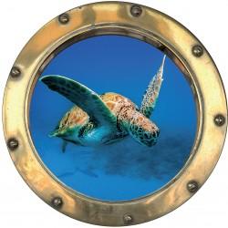 Sticker hublot trompe L'oeil tortue de mer