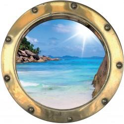 Sticker hublot trompe L'oeil plage et sable fin